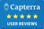 capterra badge for reviews on Sirenum staff management software platform