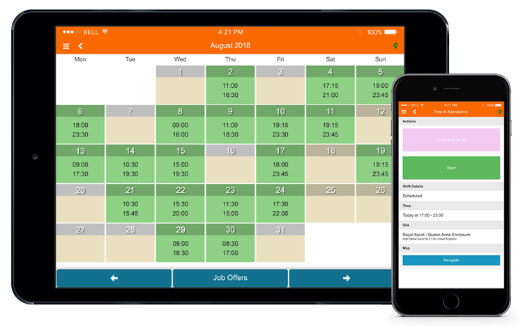 MySirenum calendar and time and attendance screens